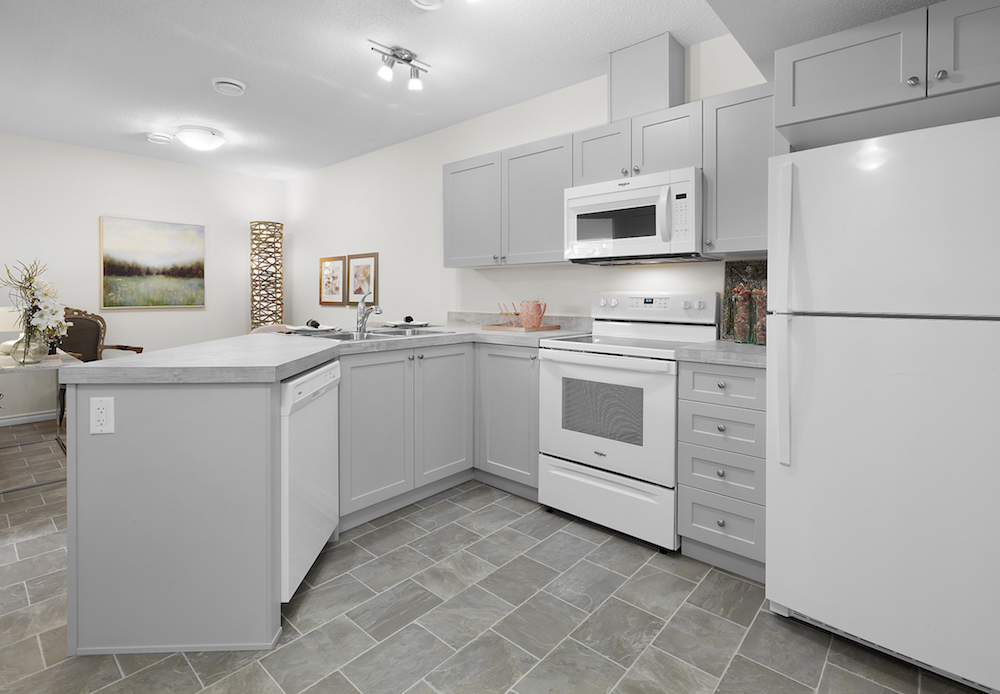 kitchen in a basement suite
