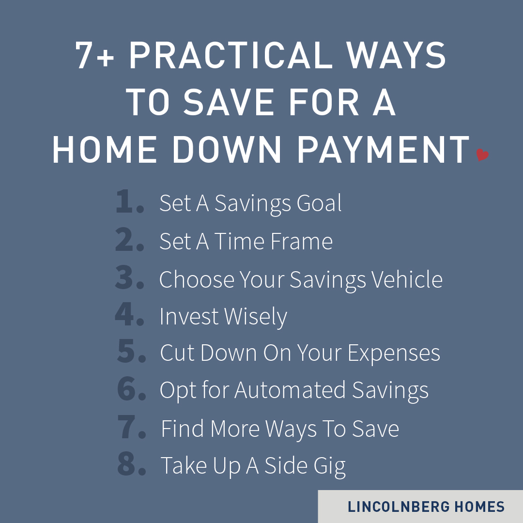 list of ways to save for a down payment